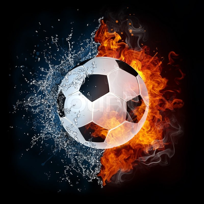 Stock image of 'Soccer Ball in Fire and Water. 2D Graphics. Computer Design.'
