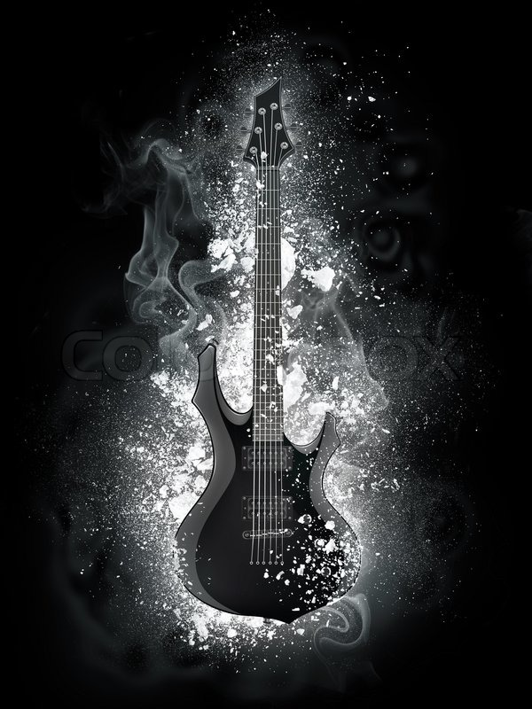 Electric Guitar In Snow And Smoke Isolated On Black