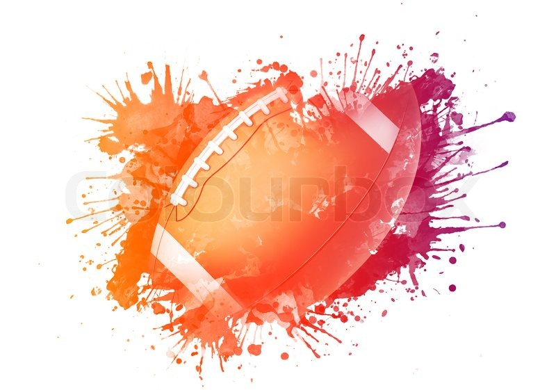 american football ball in watrcolor isolated on white. Black Bedroom Furniture Sets. Home Design Ideas