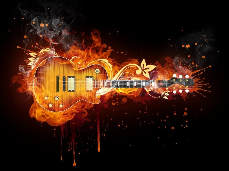 Wallpapers Playing With Fire: Electric Guitar In Fire Isolated On Black Background
