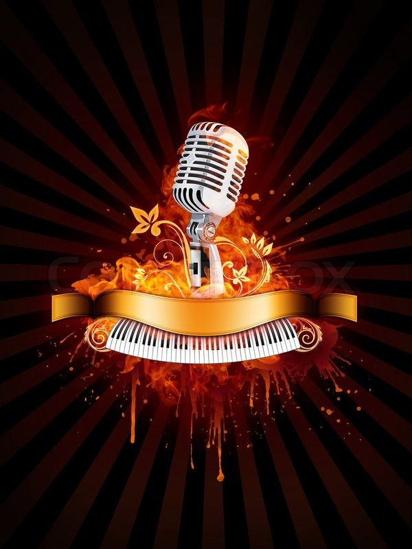 Party Poster With Microphone and Piano     | Stock image