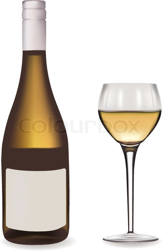 Bottle of white wine and a wine glass. Vector illustration ...