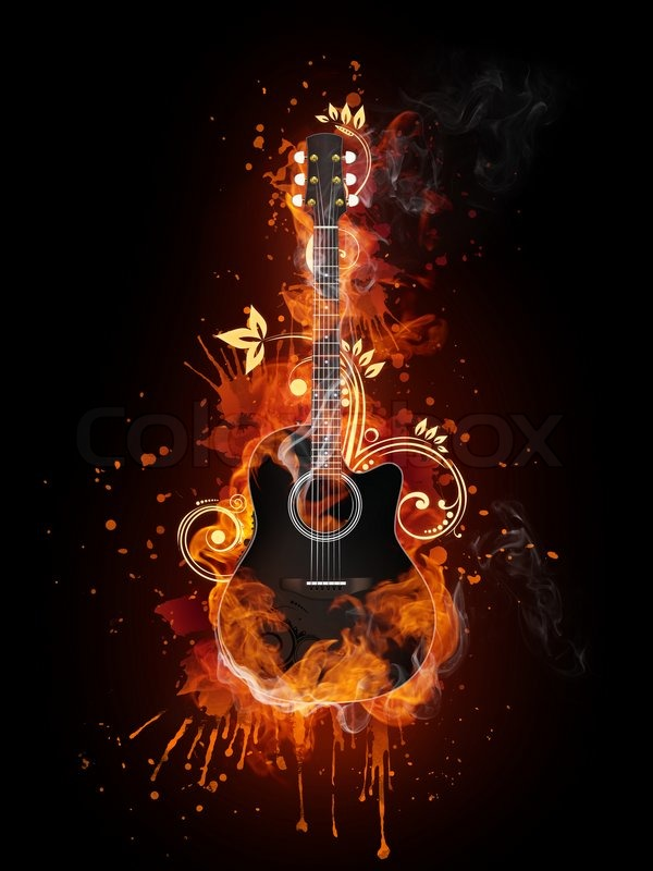 guitar acoustic fire flame - photo #9