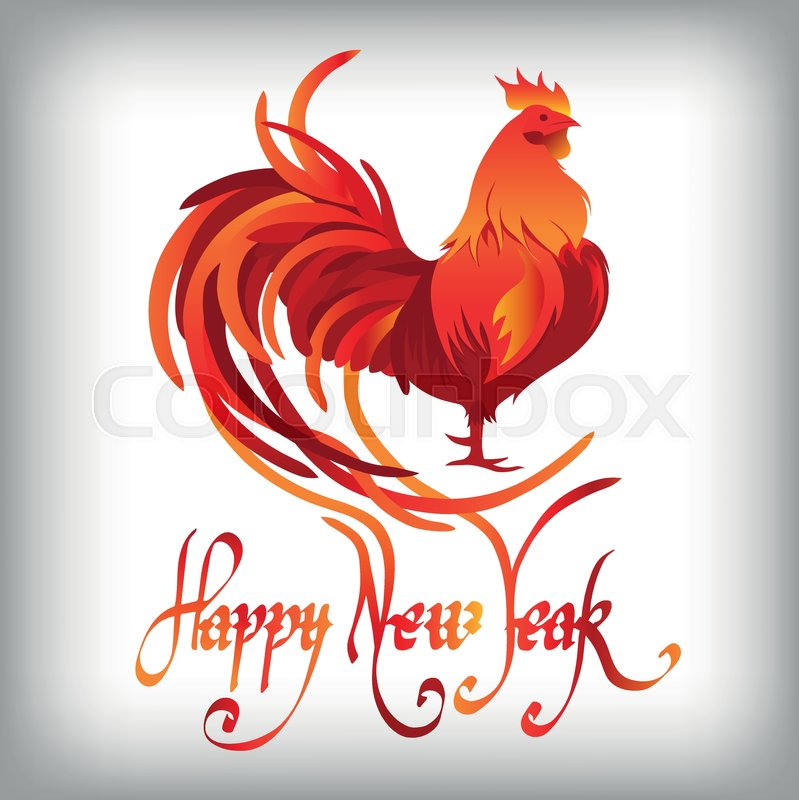 red rooster symbol of 2017 on the chinese calendar happy new year 2017 card for your flyers and greetings card vector illustration stock vector
