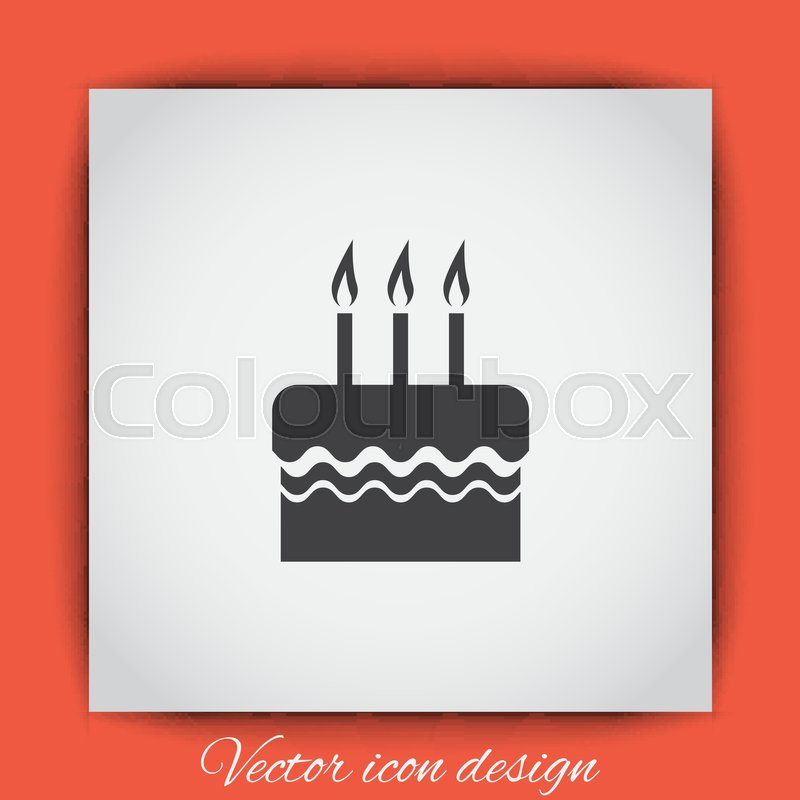 Birthday Cake Vector Icon Celebration Sign Party Food Symbol