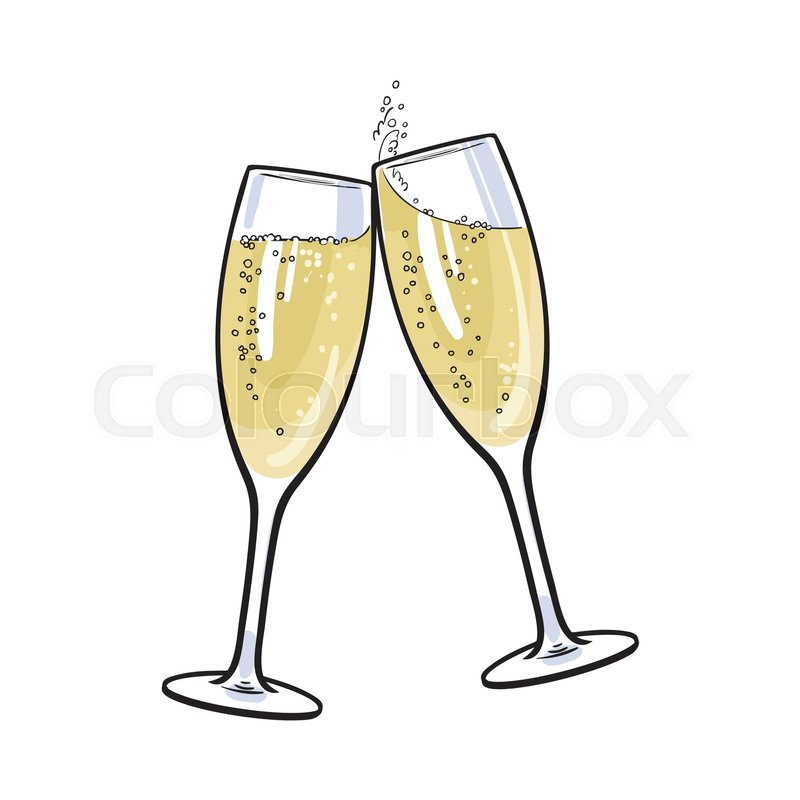 pair of champagne glasses set of sketch style vector illustration