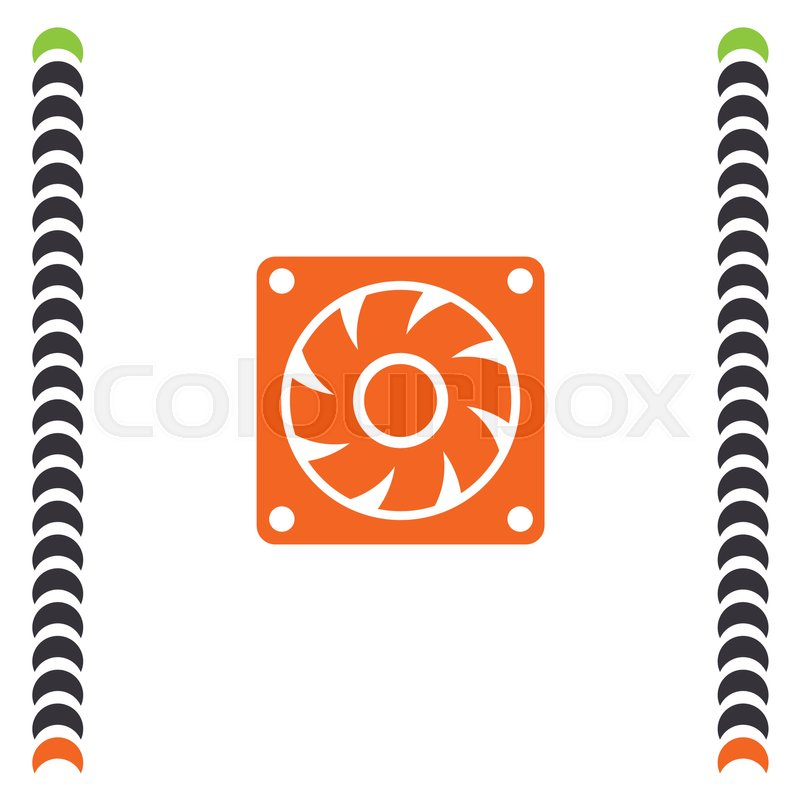 Computer Cooling Fan vector icon. Pc cooler sign. Air generator ...