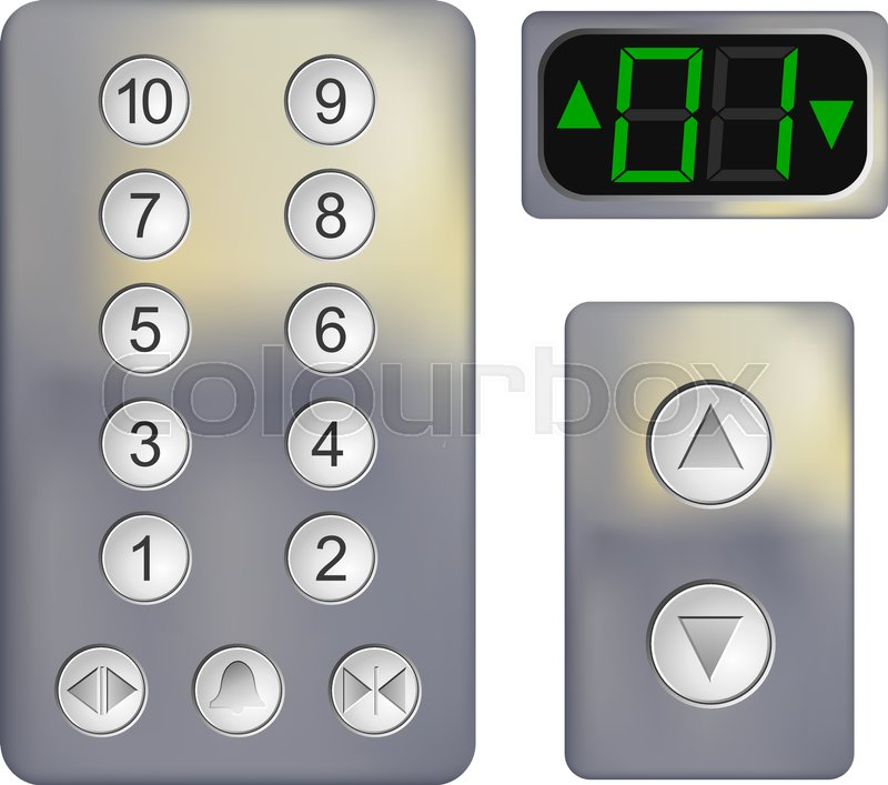 realistic control panel of the elevator on a white background metal