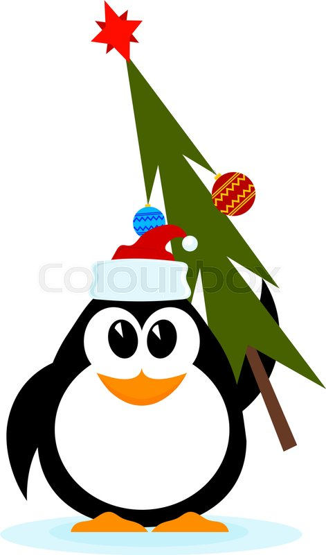 little cheerful penguin with christmas tree in hat of