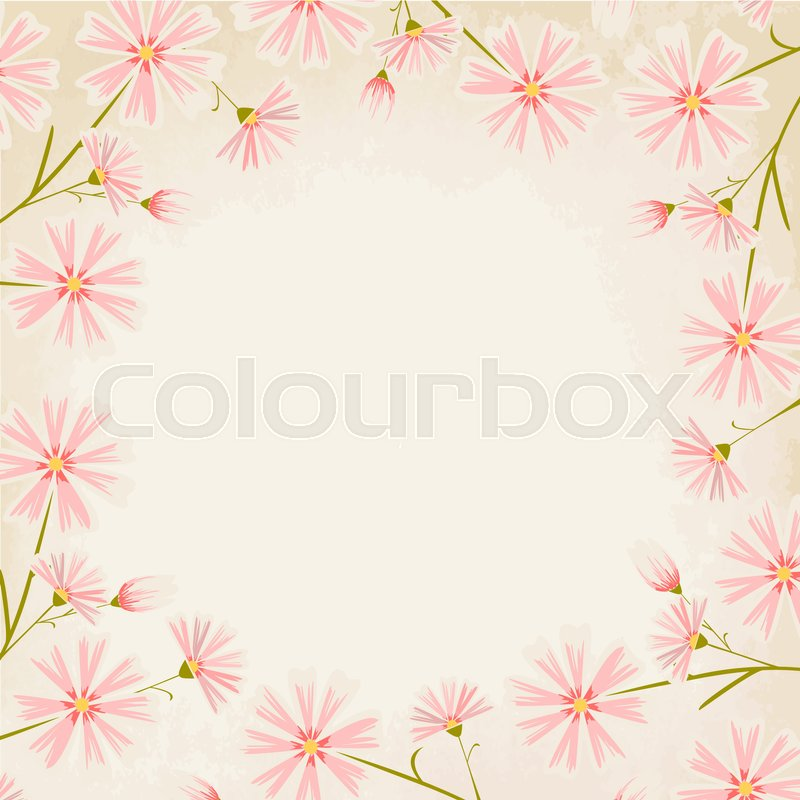 Elegant Pink Daisy Flowers Round Border Design Element On Vintage Paper Background