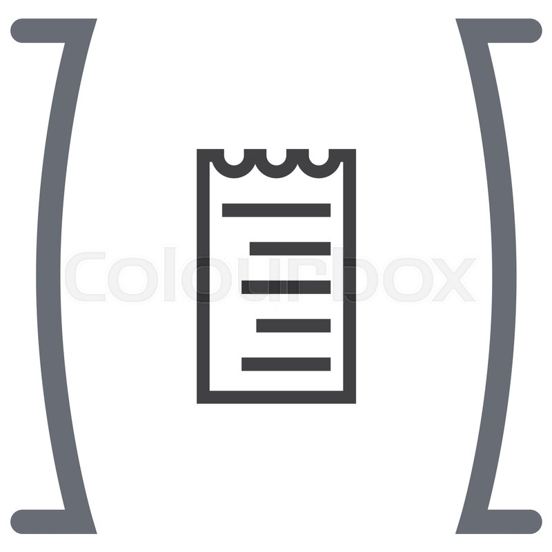 receipt line vector icon bill sign pay document pictograph