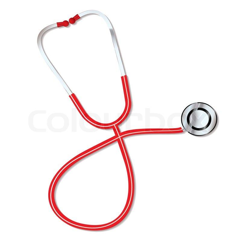 Rote Ärzte medizinische Stethoskop zum hören von Herzen schlagen ...