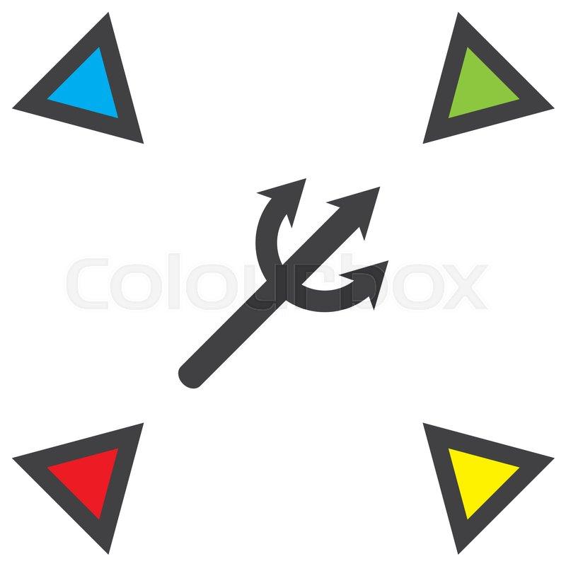 Devils Trident Vector Icon Poseidon Weapon Sign Aqua Park Symbol
