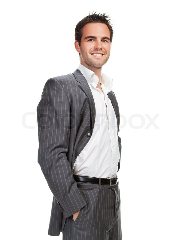 Portrait of confident business man isolated over white ...