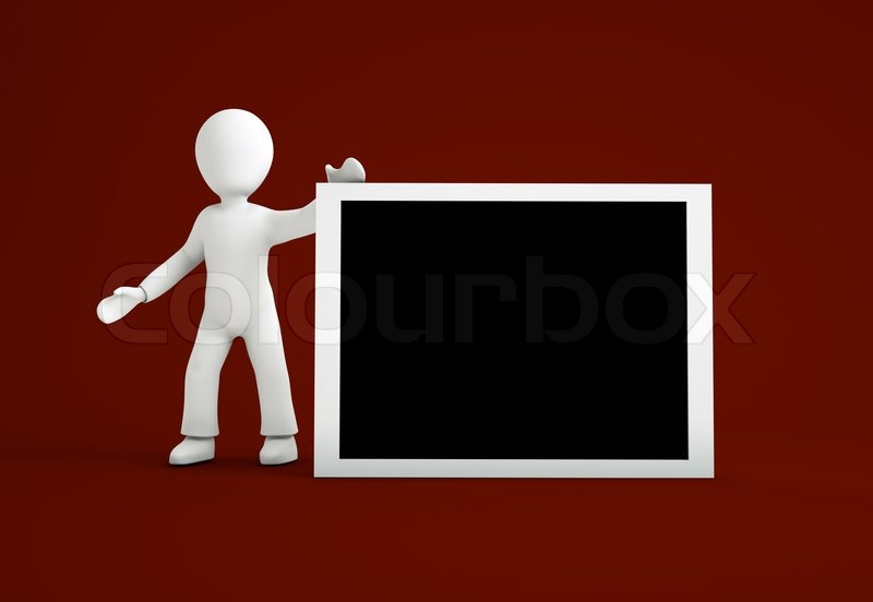 Stock image of '3d cartoon character with a white black board'