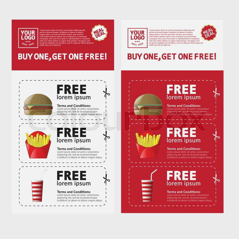 Fast Food Voucher Template With Hamburger, Fries and Coke. | Stock ...
