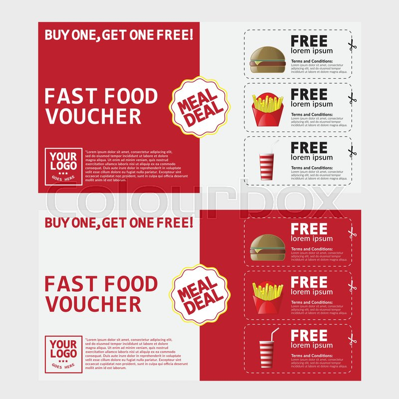 Fast Food Voucher Template With Hamburger, Fries And Coke. | Stock