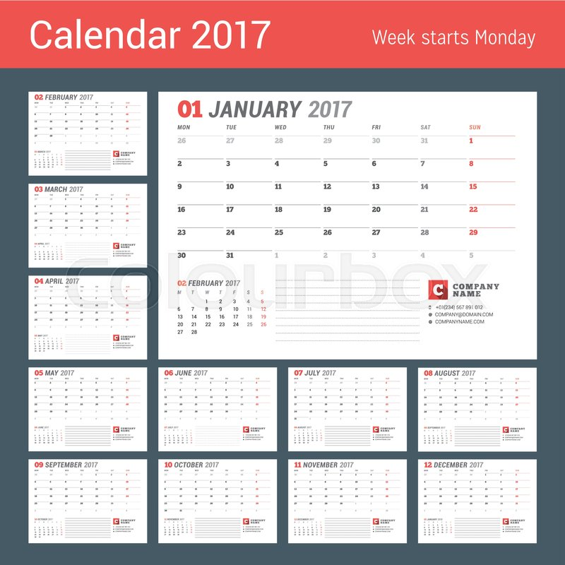 Calendar template for 2017 year business planner 2017 template calendar template for 2017 year business planner 2017 template stationery design week starts monday set of 12 months vector illustration stock vector friedricerecipe Choice Image