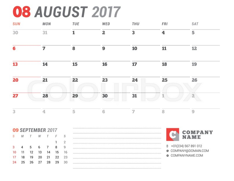 calendar template for 2017 year august business planner 2017
