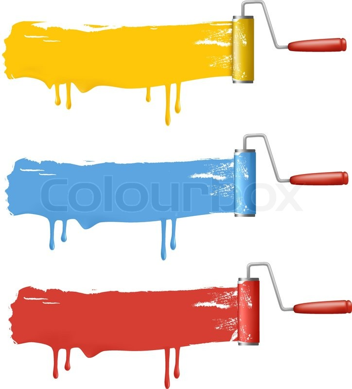 set of colorful paint roller brushes vector illustration stock rh colourbox com print vector in r print vector in matlab