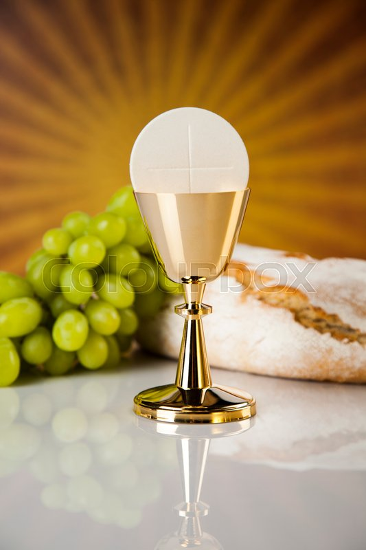 Eucharist Symbol Of Bread And Wine Chalice And Host First