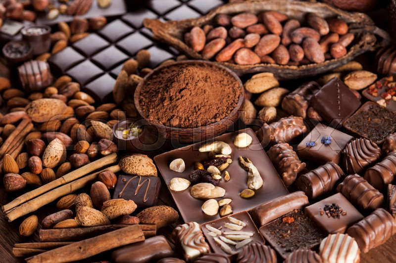Chocolate sweet, cocoa pod and food dessert background, stock photo