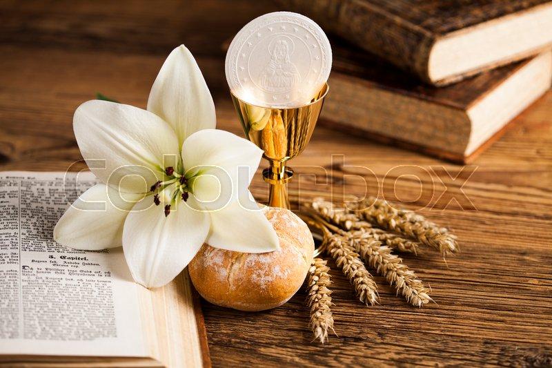 Holy Communion Bread, Wine for christianity religion, stock photo