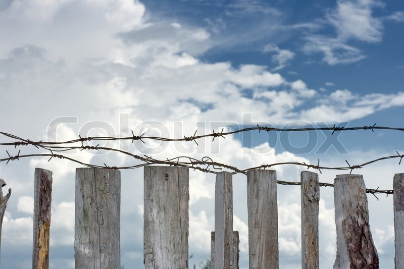 Barbed wire are stretched across top of wooden fence | Stock Photo ...