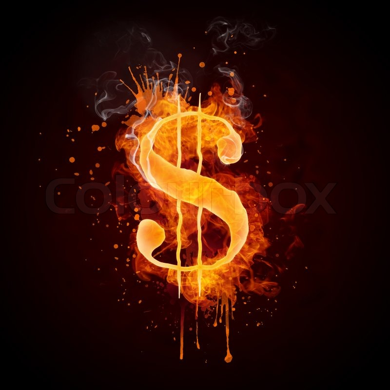 Fire Truck Wallpaper: Dollar In Fire Isolated On Black Background. Computer