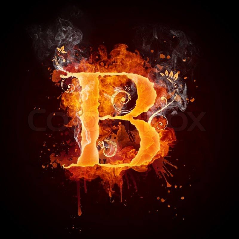 fire swirl letter b isolated on black background computer design stock photo