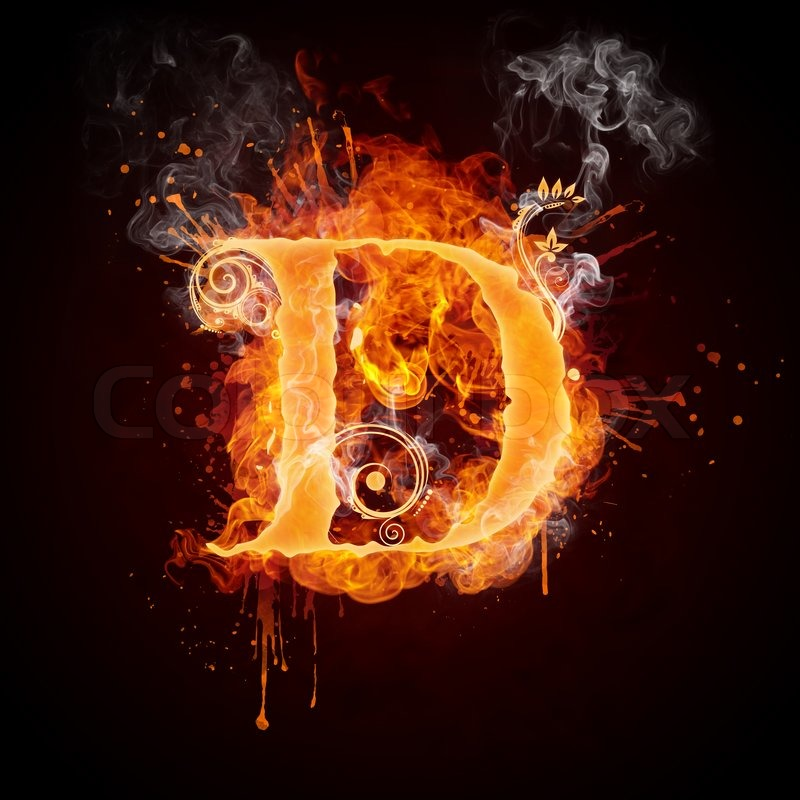 Fire Swirl Letter D Isolated On Black Stock Photo Colourbox