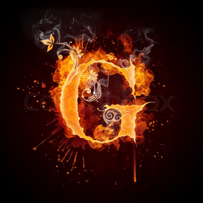 Fire Swirl Letter G Isolated On Black Background Computer Design