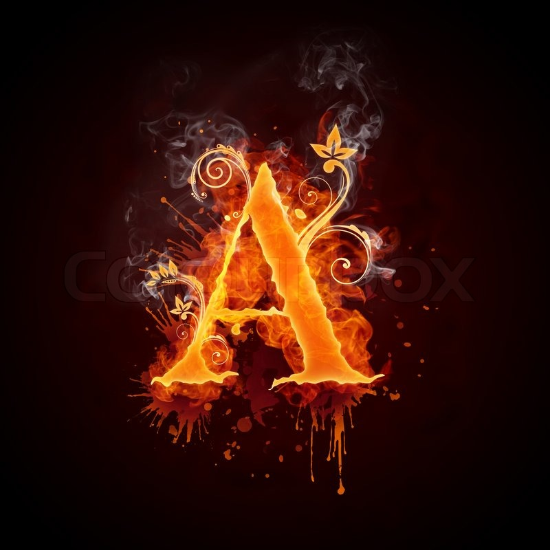 fire swirl letter a isolated on black background computer design