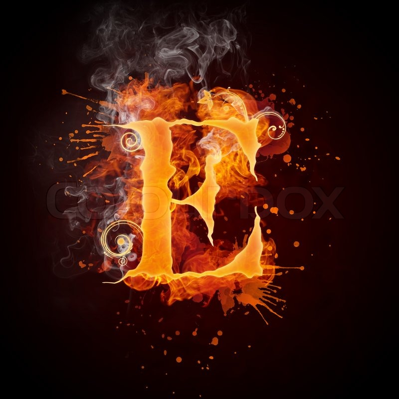 ... Fire Swirl Letter E Isolated on Black Background. Computer Design.