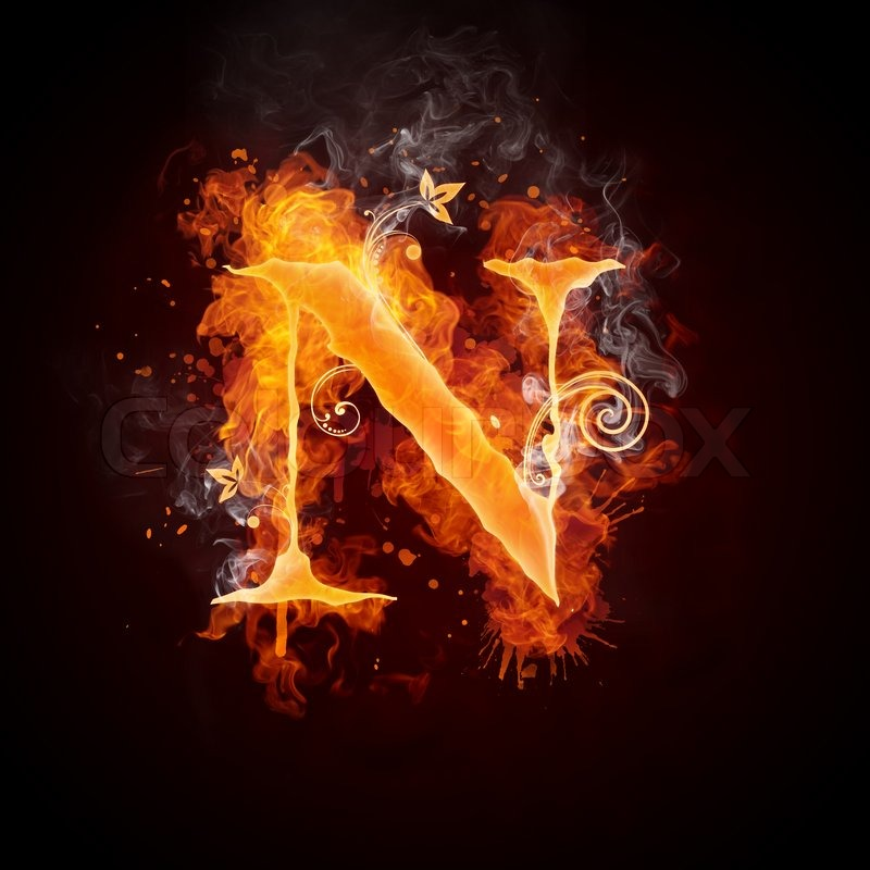 Fire Swirl Letter N Isolated On Black Background Computer