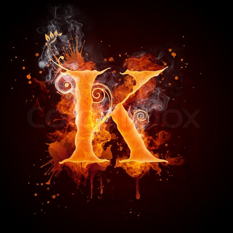 Fire Swirl Letter K Isolated on Black Background  Computer Design    Letter K Fire
