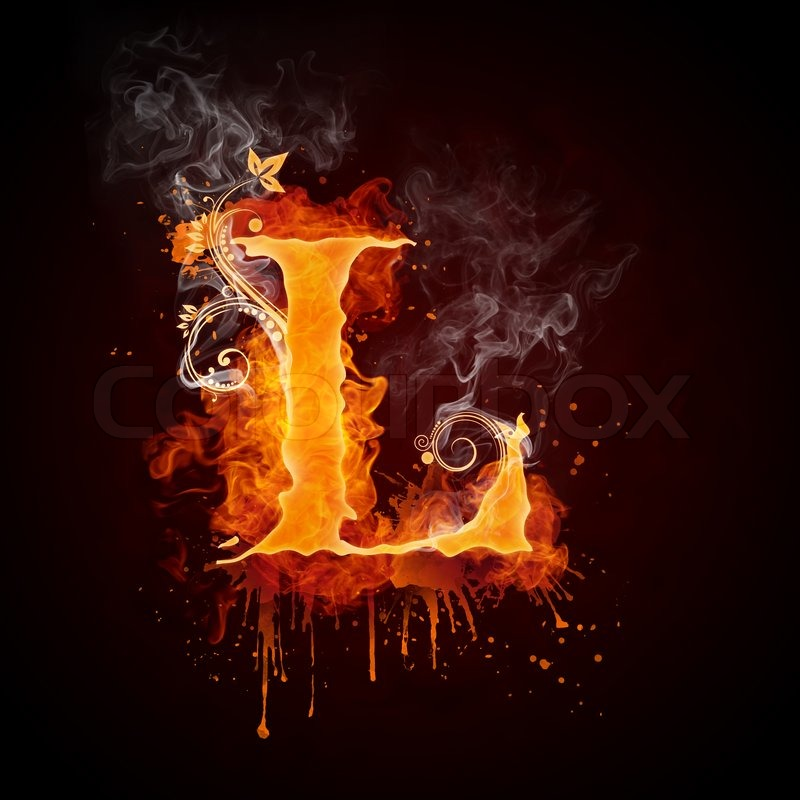 Fire Swirl Letter L Isolated on Black Background puter Design