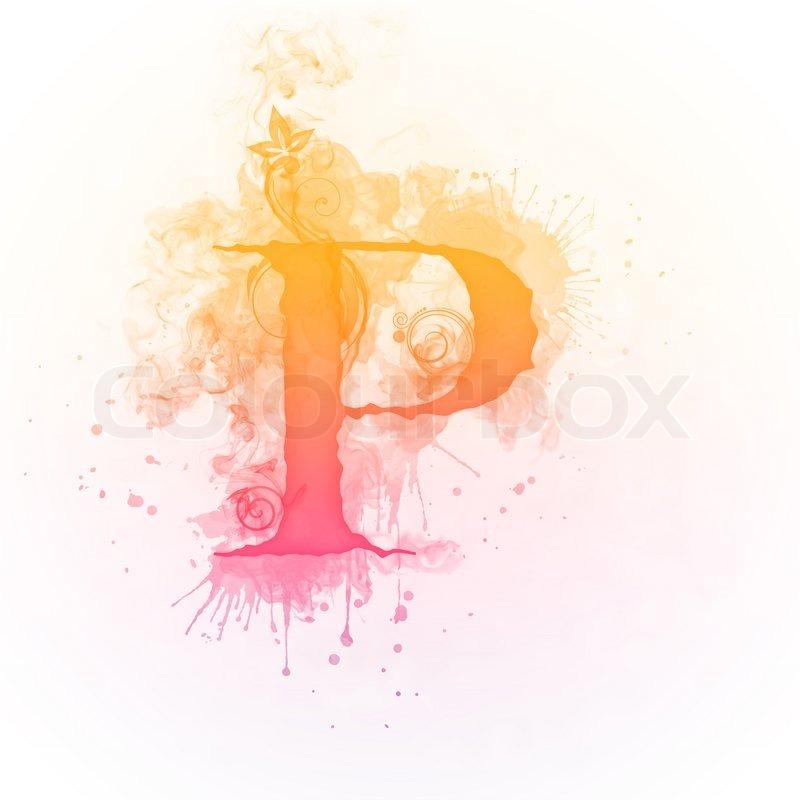 P Design: Sunny Swirl Letter P Isolated On White ...