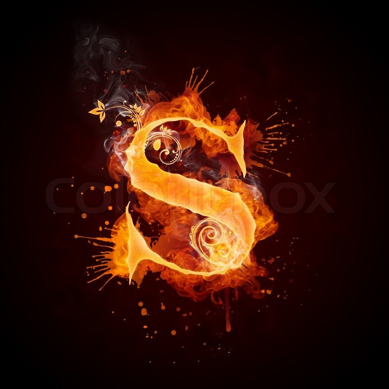 Fire swirl letter s isolated on black background computer for Designer s image