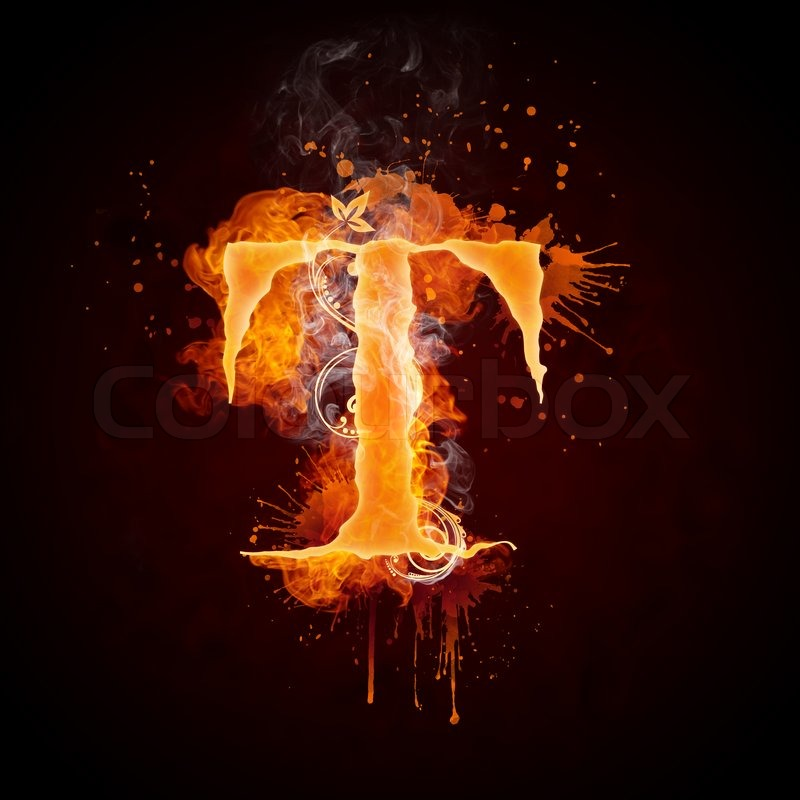 Fire Swirl Letter T Isolated on Black Background. Computer Design.