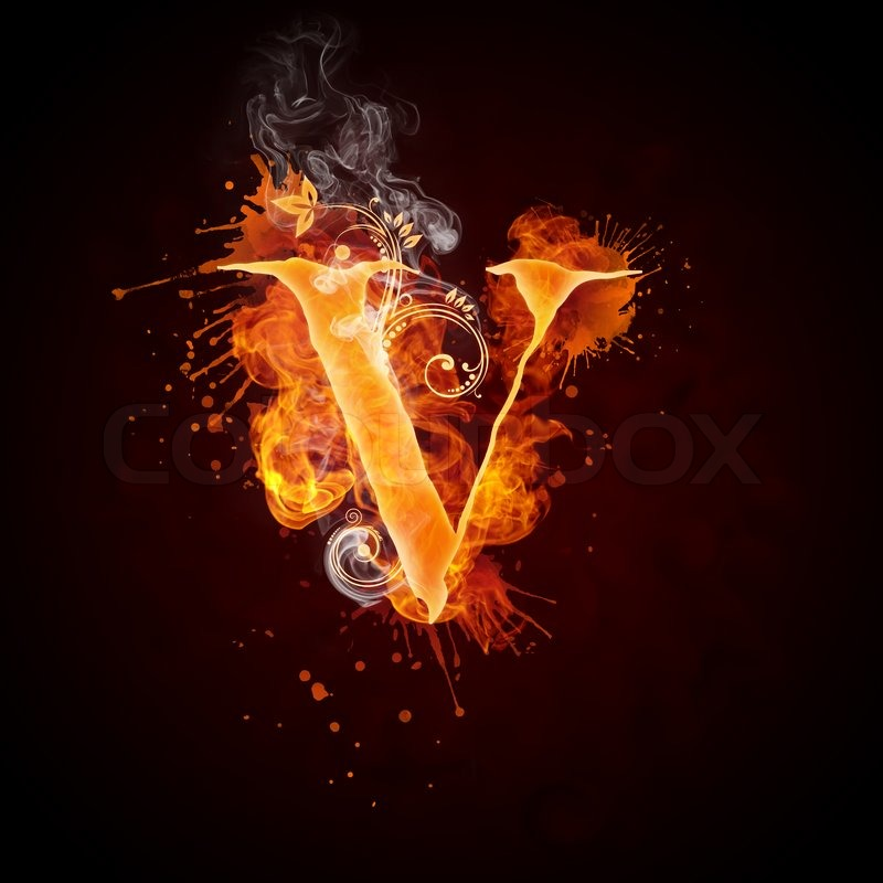 Fire Swirl Letter V Isolated on Black Background. Computer ...