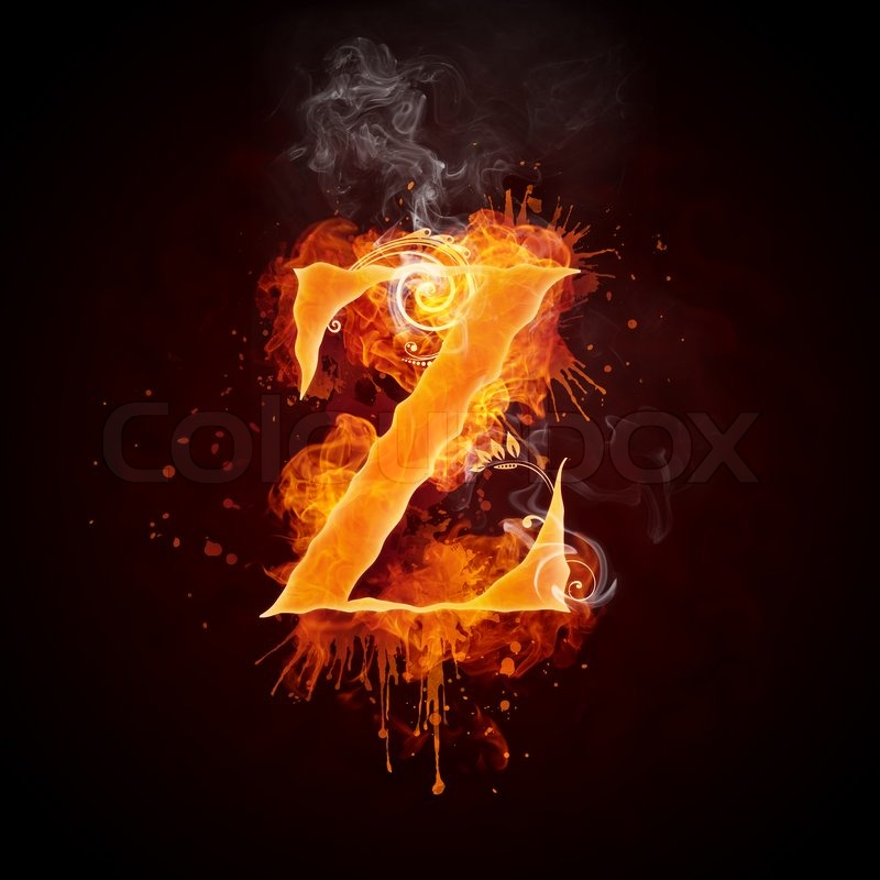 fire swirl letter z isolated on black background computer design