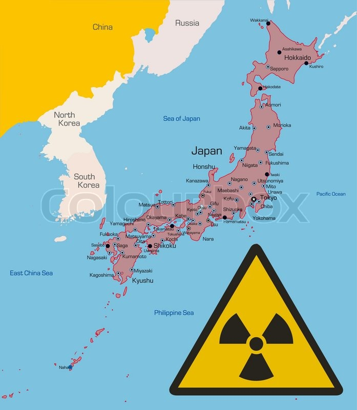 Vector Color Map Of Japan Country With Radiation Sign Data Sourse - Japan map data