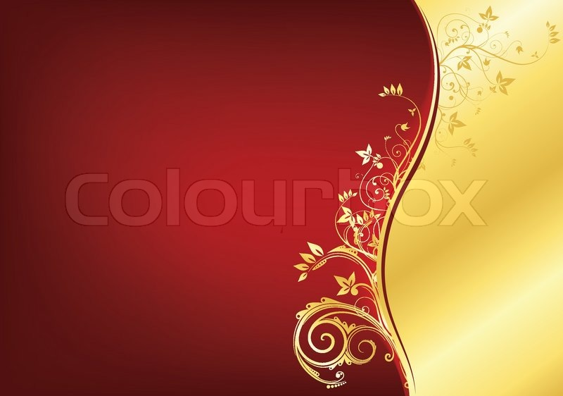 Gold And Red Backgrounds: Red And Gold Retro Swirl Texture Background. Vector