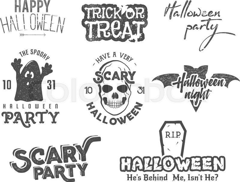 Halloween 2016 Party Vintage Labels Tee Designs With Scary Symbols