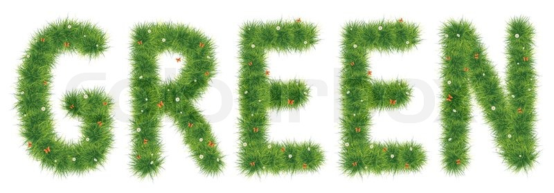 green grass word isolated on white background computer graphics stock photo