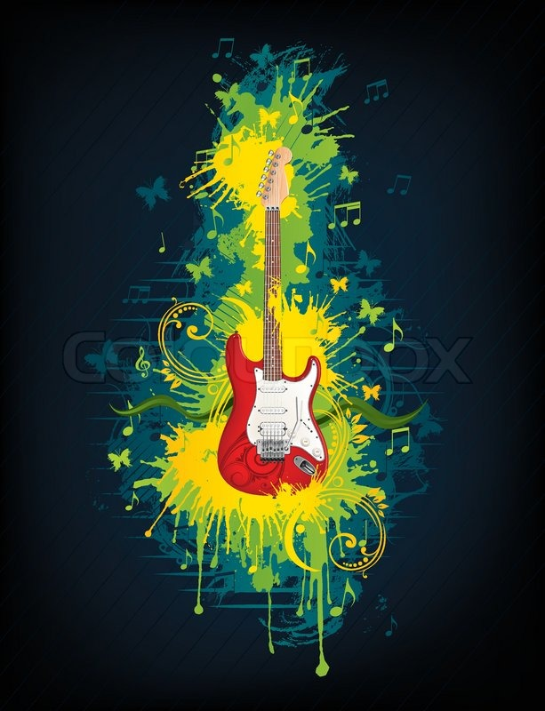 electric guitar with abstract swirl isolated on background vector