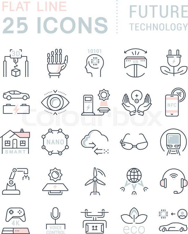 Set Vector Line Icons In Flat Design Future Technology
