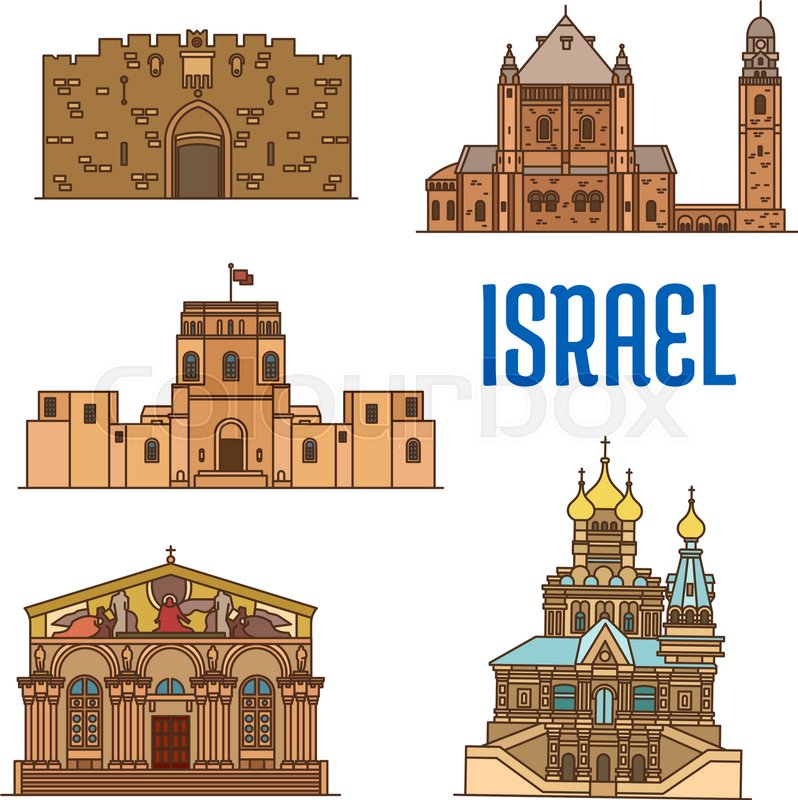 Israel Vector Detailed Architecture Icons Of Lions Gate Dormition