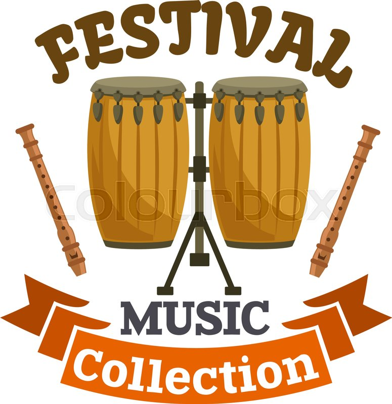 Musical Drums Music Festival Emblem With Vector Icon Of Cuban African Conga Kit Drum Sticks And Brown Ribbon